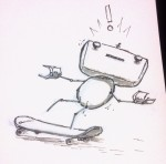 The newly named robot character on a skateboard