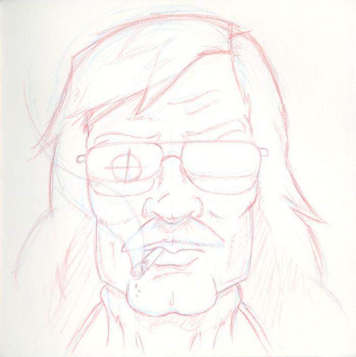 Derek Danger sketch in blue and red pencils