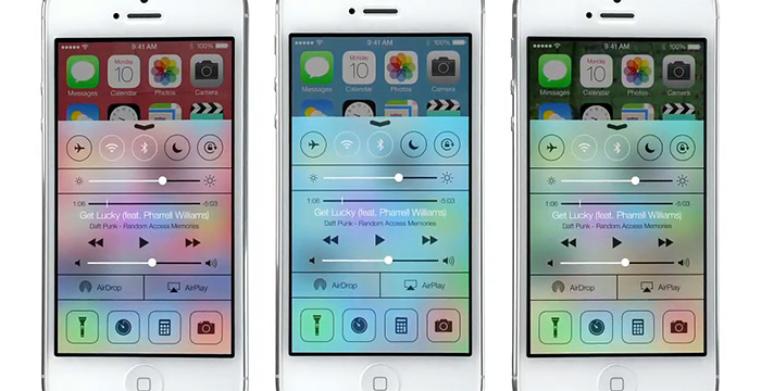 Control Center against different backgrounds
