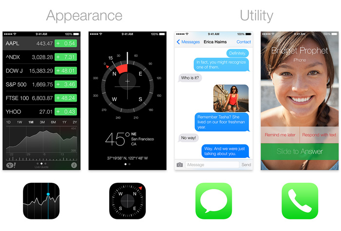 Comparing the Stocks, Compass, Messages and Phone apps to their icons