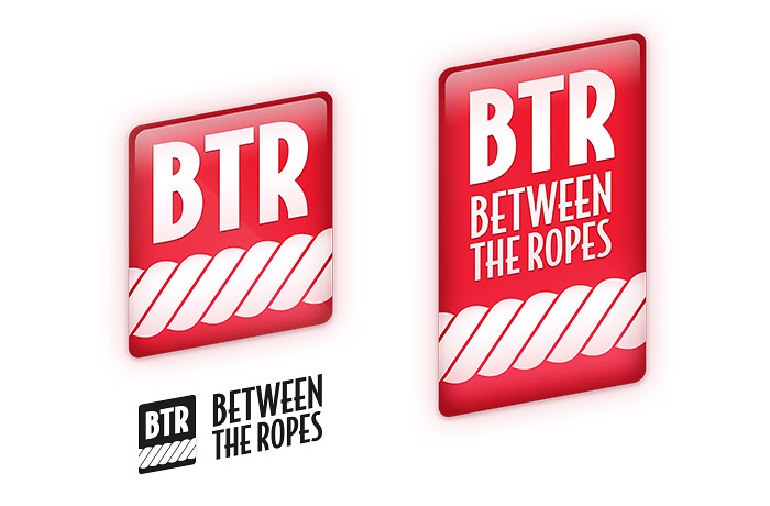 A development version of the Between The Ropes logo with variations