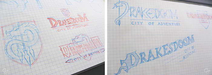 Early sketches developing ideas for the Drakesdoom logo