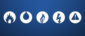 The five symbols for Fire, Water, Gas, Electrical and Asbestos