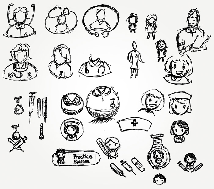 Preliminary sketches for the Practice Nurse character