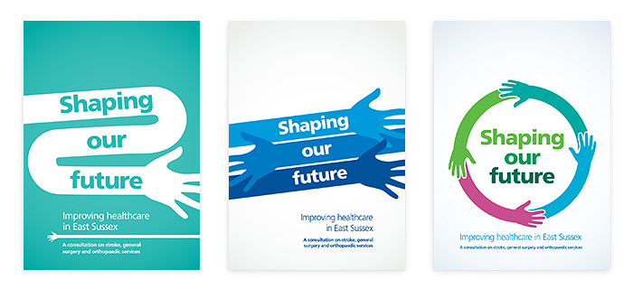 Three early Shaping Our Future cover concepts involving hands