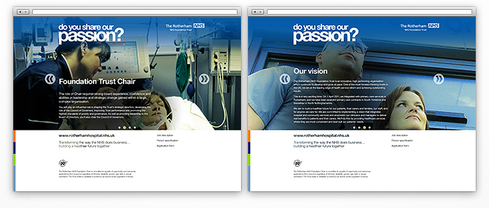 Other pages from the microsite containing job details and the trust's vision