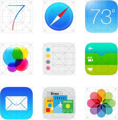 From Apple: Examples of iOS 7 icons using a dedicated grid